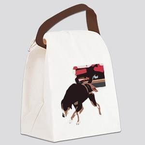 ava weight pull color block Canvas Lunch Bag