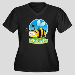BumbleBee Women's Plus Size Dark V-Neck T-Shirt