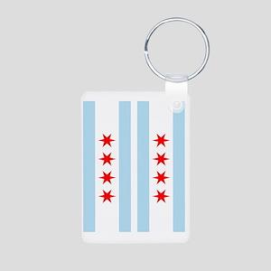 Chicago Flag Flip Flops Aluminum Photo Keychain