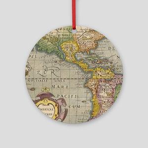 Vintage America Map Flip Flops Round Ornament