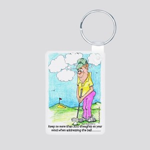 Golf 300 Thoughts Aluminum Photo Keychain