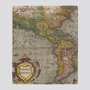 Vintage America Map Flip Flops Throw Blanket