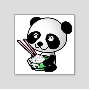 """panda-eating-rice Square Sticker 3"""" x 3"""""""