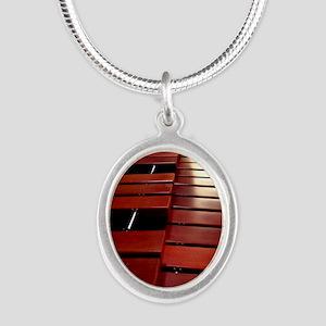 Marimba Silver Oval Necklace