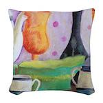 Bottlescape II - Orange Green Woven Throw Pillow