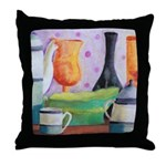 Bottlescape II - Orange Green Throw Pillow