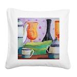 Bottlescape II - Orange Green Square Canvas Pillow