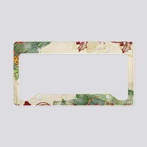 Christmas Peace Collage Pine  License Plate Holder