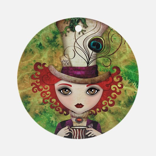 Lady Hatter Round Ornament