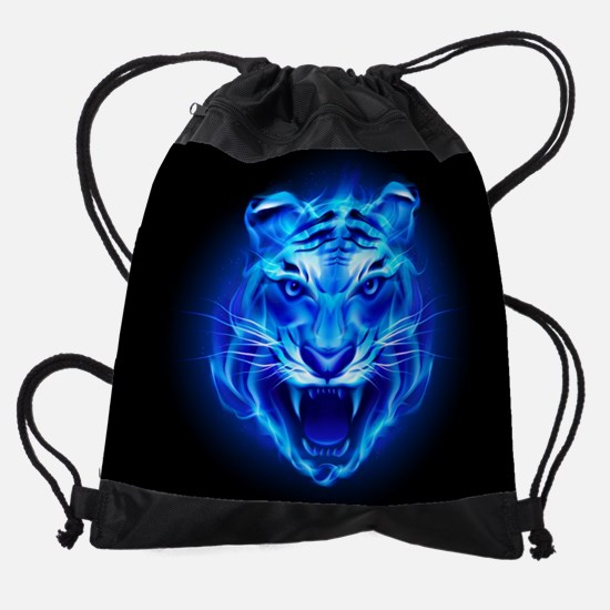 Blue Fire Tiger Face Drawstring Bag