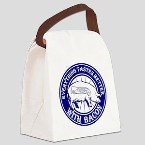 Pig Black Leg Black Burst- Blue Canvas Lunch Bag