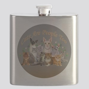Cats are people too ornament Flask