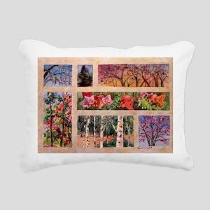 Tree Collaage Rectangular Canvas Pillow