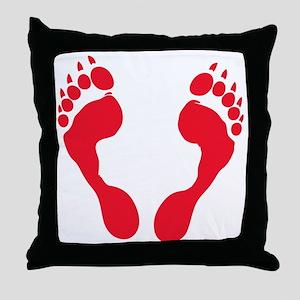 werewolf-track-red-T Throw Pillow