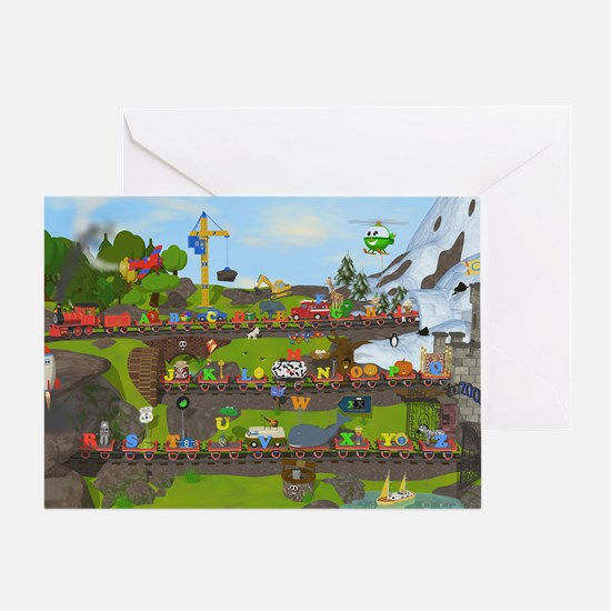 Alphabet Train Poster, Two Objects P Greeting Card