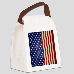 flip_flops_antique_american_flag Canvas Lunch Bag