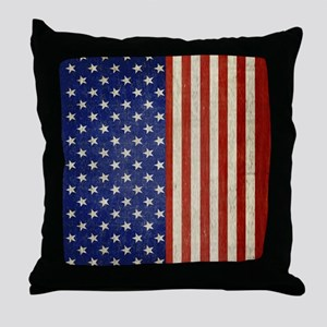 flip_flops_antique_american_flag Throw Pillow