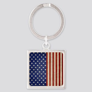 flip_flops_antique_american_flag Square Keychain