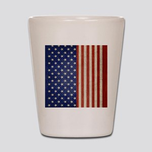 flip_flops_antique_american_flag Shot Glass