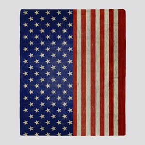 flip_flops_antique_american_flag Throw Blanket
