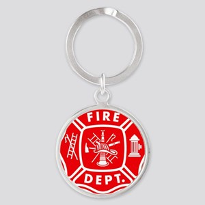 fire department crest pocket Round Keychain