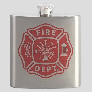 fire department crest pocket Flask