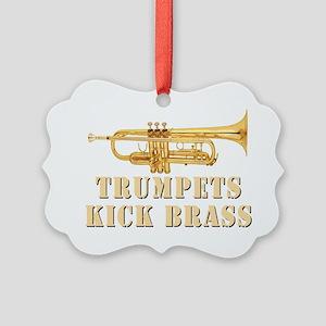 trumpetskickbrass_2_dark Picture Ornament