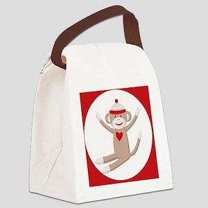 Sock Monkey Sticker Canvas Lunch Bag