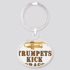 trumpetskickbrass_2_smalls Oval Keychain