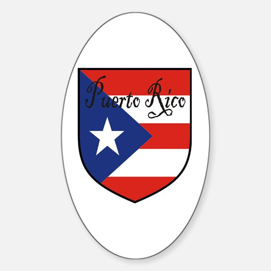 Puerto Rico Flag Shield Oval Decal