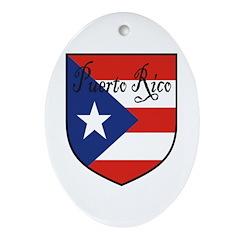 Puerto Rico Flag Shield Oval Ornament