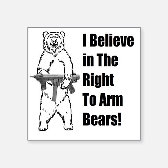 "bear gunl Square Sticker 3"" x 3"""