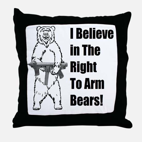 bear gunl Throw Pillow
