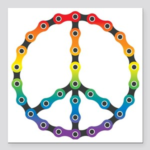 "peace chain vivid Square Car Magnet 3"" x 3"""