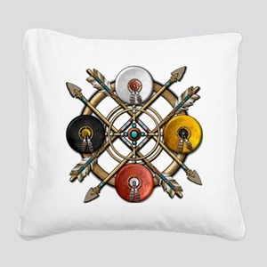 Medicine Wheel Mandala Square Canvas Pillow