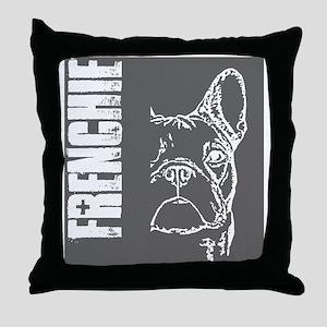 BHNW_frenchieGREY_flip_flops Throw Pillow