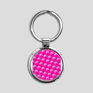 BHNW_BullieSkullsPINK_flip_flops Round Keychain