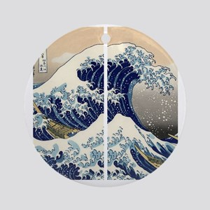 great_wave_flip_flops Round Ornament