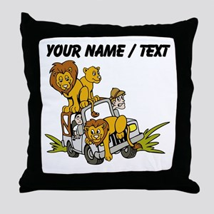 Custom African Lion Safari Throw Pillow