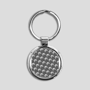 BHNW_BullieSkullsGREY_flip_flops Round Keychain