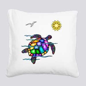 Sea Turtle 1 - with waves Square Canvas Pillow