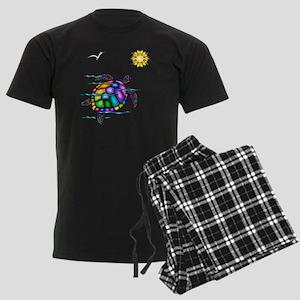 Sea Turtle 1 - with waves Men's Dark Pajamas