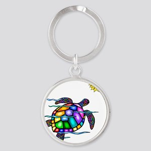 Sea Turtle 1 - with waves Round Keychain