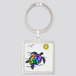 Sea Turtle 1 - with waves Square Keychain