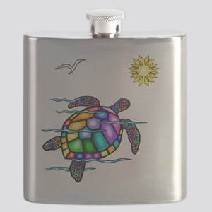 Sea Turtle 1 - with waves Flask