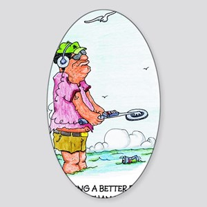 Beach Metal Detector Sticker (Oval)