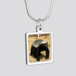 Honey Badger Silver Square Necklace
