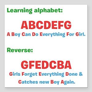 "abcdefg Square Car Magnet 3"" x 3"""