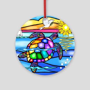 Sea Turtle 8 - square Round Ornament
