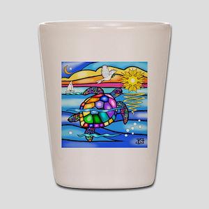 Sea Turtle 8 - square Shot Glass